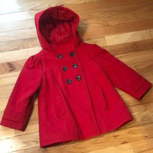 Girls Old Navy red pea coat
